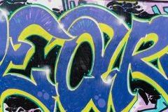 Primer colorido del estilo de la pintada del arte hermoso abstracto de la calle Detalle de una pared Puede ser ?til para los fond fotografía de archivo