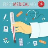 Primer concepto del vector de la ayuda médica en diseño plano stock de ilustración