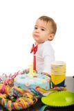 Primer cumpleaños del año del muchacho precioso Fotos de archivo