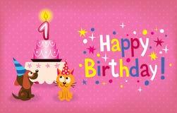 Primer cumpleaños feliz stock de ilustración