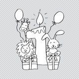 Primer cumpleaños feliz con la vela y los animales lindos ilustración del vector