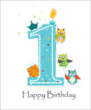 Primer cumpleaños feliz con vector de la tarjeta de felicitación del bebé de los búhos Fotografía de archivo libre de regalías