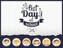Primer d?a de cartel de la escuela con los ni?os de los alumnos ilustración del vector