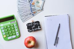 Primer día de costos de la escuela Fotografía de archivo
