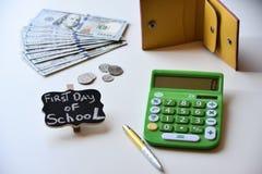 Primer día de costos de la escuela Fotografía de archivo libre de regalías