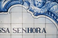 Primer de azulejos, de la teja azul y blanca tradicional portuguesa imagen de archivo libre de regalías