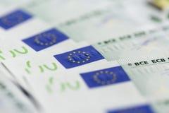 Primer de 100 billetes de banco euro Fotos de archivo