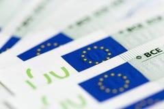 Primer de 100 billetes de banco euro Fotografía de archivo libre de regalías