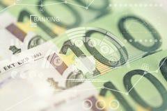 Primer de 100 billetes de banco euro Imagen de archivo libre de regalías
