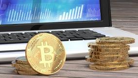 Primer de Bitcoin, monedas de oro, ordenador portátil y cartas en el fondo libre illustration