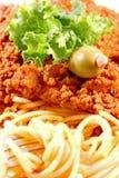 Primer de boloñés del espagueti Fotografía de archivo libre de regalías