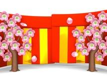 Primer de Cherry Blossoms And Red-Gold Curtains en el fondo blanco Fotos de archivo libres de regalías
