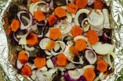 Primer de cocinar en el horno, pescado que cuece con las verduras imagen de archivo