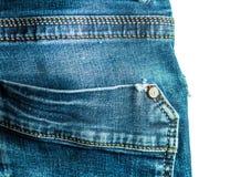 Primer de costura del estilo del vintage de los tejanos del bolsillo trasero Imagenes de archivo