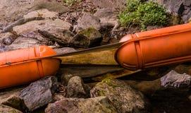 Primer de dos flotadores grandes de la naranja Fotografía de archivo libre de regalías