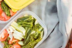 Primer de envases con las verduras en naturaleza durante una comida campestre, primer Verano, resto, concepto sano de la consumic imágenes de archivo libres de regalías