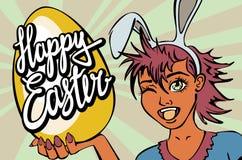 Primer de guiñar a cara de la muchacha de conejito manga feliz del vector de las letras de pascua Imagenes de archivo