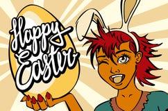 Primer de guiñar a cara de la muchacha de conejito manga feliz del vector de las letras de pascua Foto de archivo libre de regalías