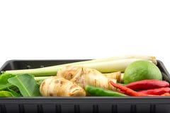 Primer de ingredientes tailandeses, galangal, cal, Cymbopogon, limón foto de archivo libre de regalías
