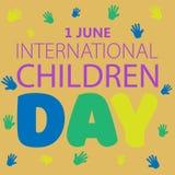 Primer de junio es el día de los niños internacionales Ilustraci?n del vector foto de archivo