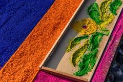 Primer de la alfombra y de la plantilla, Antigua, Guatemala de la procesión Lent Imagen de archivo libre de regalías