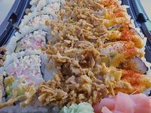 Primer de la bandeja del sushi Fotografía de archivo
