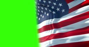Primer de la bandera a medias americana de los E.E.U.U., barras y estrellas, los Estados Unidos de América en la pantalla del ver metrajes