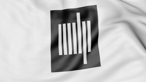 Primer de la bandera que agita con el emblema del MIT de Massachusetts Institute of Technology, representación 3D stock de ilustración