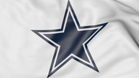 Primer de la bandera que agita con el logotipo americano del equipo de fútbol de Dallas Cowboys NFL, representación 3D stock de ilustración