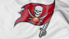 Primer de la bandera que agita con el logotipo americano del equipo de fútbol de Tampa Bay Buccaneers NFL, representación 3D ilustración del vector