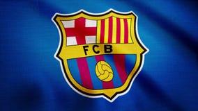 Primer de la bandera que agita con el logotipo del club del fútbol del FC Barcelona, lazo inconsútil Animación editorial almacen de metraje de vídeo