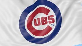 Primer de la bandera que agita con el logotipo del equipo de béisbol de los Chicago Cubs MLB, lazo inconsútil, fondo azul Animaci ilustración del vector