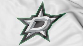 Primer de la bandera que agita con el logotipo del equipo de hockey del NHL de Dallas Stars, representación 3D Imagen de archivo libre de regalías