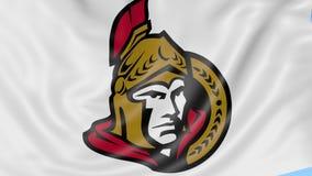 Primer de la bandera que agita con el logotipo del equipo de hockey del NHL de los Ottawa Senators, lazo inconsútil, fondo azul A almacen de video