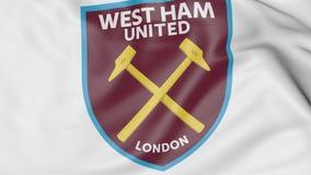 Primer de la bandera que agita con el logotipo del oeste del club del fútbol de Ham United FC, representación 3D libre illustration