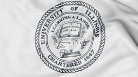 Primer de la bandera que agita con la representación del emblema 3D del chamán de Urbana de la Universidad de Illinois Fotografía de archivo libre de regalías