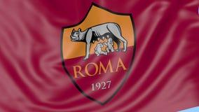Primer de la bandera que agita con A S Logotipo del club del fútbol de Roma, lazo inconsútil, fondo azul Animación editorial 4K almacen de metraje de vídeo