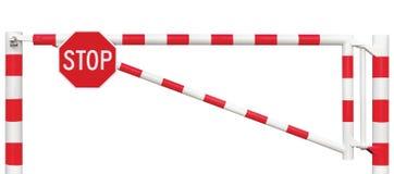 Primer de la barrera del camino bloqueado, muestra octagonal de la parada, barra de puerta del camino en blanco y rojo brillantes Imágenes de archivo libres de regalías