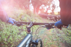 Primer de la bicicleta masculina del montar a caballo del motorista de la montaña Imagenes de archivo