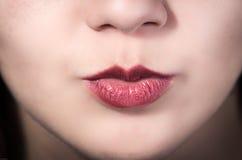 Primer de la boca de la chica joven bonita Imagen de archivo libre de regalías
