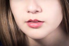 Primer de la boca de la chica joven bonita Fotografía de archivo
