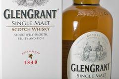 Primer de la botella de whisky de Glen Grant Speyside Single Malt Scotch Imágenes de archivo libres de regalías