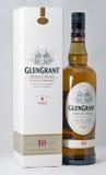 Primer de la botella de whisky de Glen Grant Speyside Single Malt Scotch Foto de archivo libre de regalías