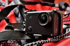 Primer de la cámara de la acción en el equipo de la aventura Foto de archivo libre de regalías