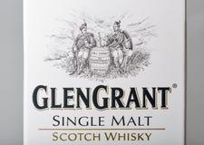 Primer de la caja del whisky de Glen Grant Speyside Single Malt Scotch Fotos de archivo libres de regalías