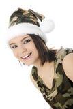 Primer de la Camo-muchacha de Papá Noel Imagenes de archivo