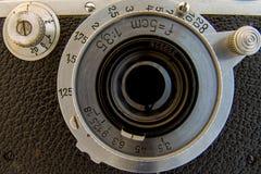 Primer de la cara de la cámara del vintage fotos de archivo