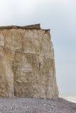 Primer de la cara del acantilado, acantilado de tiza en siete hermanas, cabeza con playas, S Foto de archivo libre de regalías