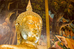 Primer de la cara y de las manos de la imagen del ` s de Buda Fotos de archivo libres de regalías