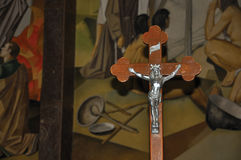 Primer de la cruz con la imagen de Jesus Christ Fotografía de archivo